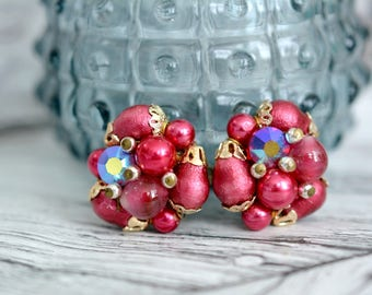 Vintage Red Cluster Bead Earrings