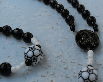 Soccer Rosary Black and White with Soccer Pater Beads Black Plastic Middle and Crucifix Lightweight