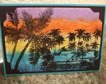 Island Sunset Stampscapes Card Wish You Were Here Tropical Palm Tree Sunrise