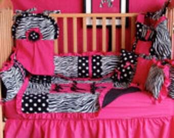 Hot pink zebra  Crib bedding-Free personalized pillow