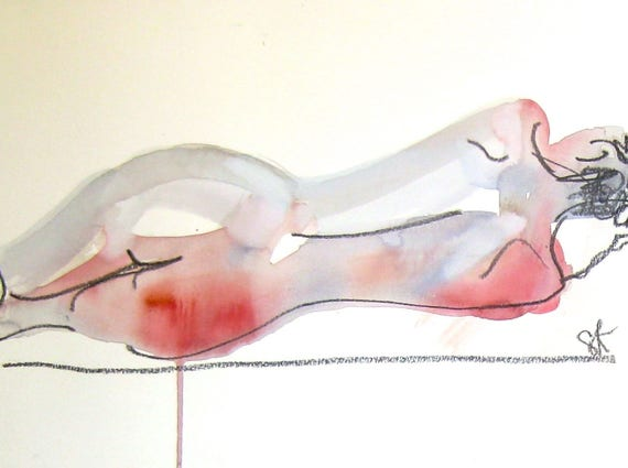 Nude painting- Original watercolor painting of Nude #1427 by Gretchen Kelly