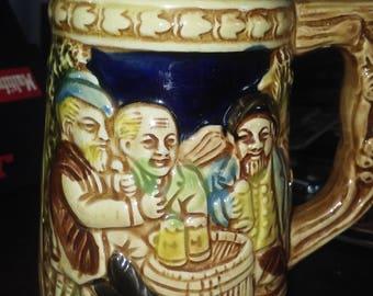 German Beer Mug with German Men and German Writing Made in Japan
