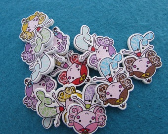 Wooden Mermaid Buttons