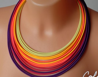 Rainbow rope necklace, Neon necklace, Neon Statement Necklace, Christmas gift for woman, Luminious necklace,Bright bib necklace,Neon jewelry