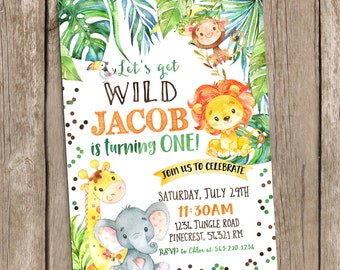 Jungle Invitation, Safari Birthday Invitation,Safari Invitation,Jungle Birthday Party,Animals Watercolor Birthday Party, Printable Digital