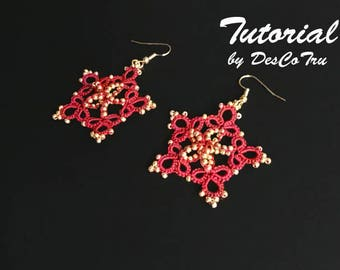 Tatting Tutorial Golden Star Earrings – Do It Yourself - Make Your Own Jewellery – Shuttle Tatting Gold Beaded Earrings Pattern