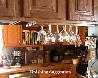 Under Cabinet Or  Shelf  Wine Glass Rack  2 Row 24 Inch