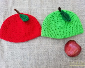 Crochet Apple Hat- Apple Picking Hat- Granny Smith Hat- Red Delicious Hat- Apple Hat- All Sizes