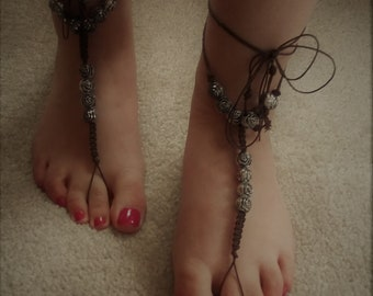 SALE: Barefoot Sandals.  Handmade/Unique.  Macrame with Wrap Around and Tie Fastenings.