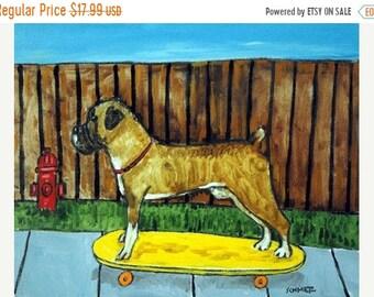 25% off Boxer Skateboarding Dog Art Print
