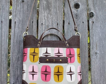 Chic Modern Leather Strap with Denim and Barkcloth Handbag, Shoulderbag