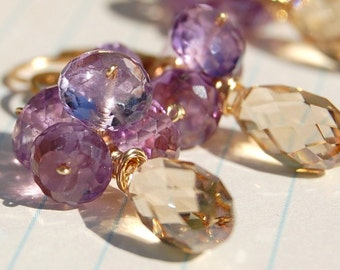 Autumn Sunshine, Pink Amethyst, Swarovski Crystal Earrings on 14K Gold Fill, Lovely for Bridesmaids