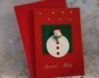 """Double card red corrugated and sheet and envelope handmade """"Snowman"""""""