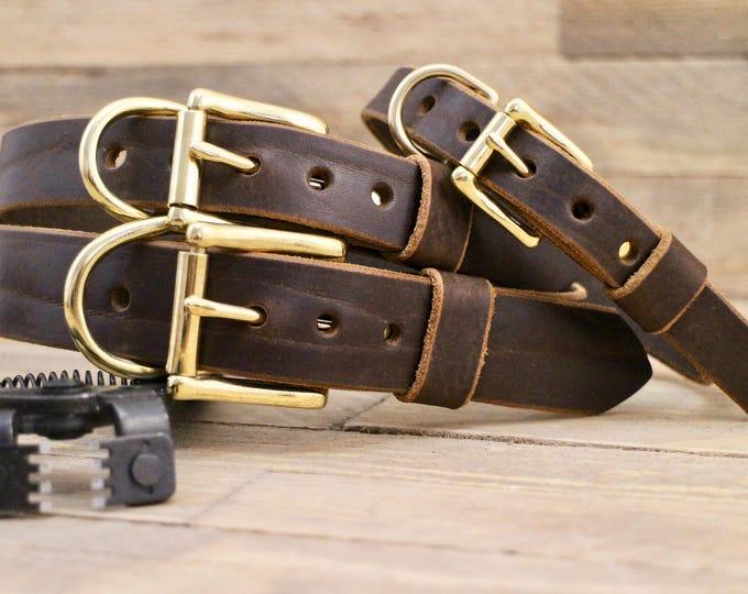 Dog collar, Premium dog collar, Cocoa collar, FREE ID TAG, Custom leather collar, Leather collar, Collar, Solid brass, Brown collar