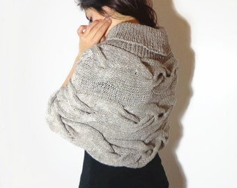 Cabled poncho, organic wool poncho, cowl neck poncho, beige merino poncho, organic poncho, light brown knitted poncho, oatmeal wool shrug.