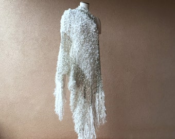 Ivory Wedding Wrap Wedding Accessories for 1920s Bridal Flapper Wedding Shawl with Taupe Black Silver Fringe Shawl Bridal Shawl