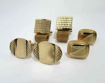 Gold Tone Geometric Cuff Link Lot of 3 Pairs - Speidel