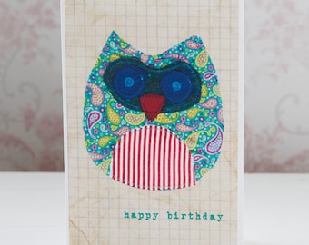 Owl Birthday Card 'Twit Twoo' Handmade Happy Birthday Greeting Card