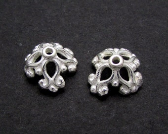 2 Pcs, Sterling Silver Bead Caps