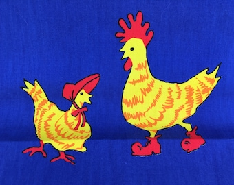 Vintage Ameritex Hens n Chicks Heavy Cotton Fabric Blue Yellow Strong Bright Color