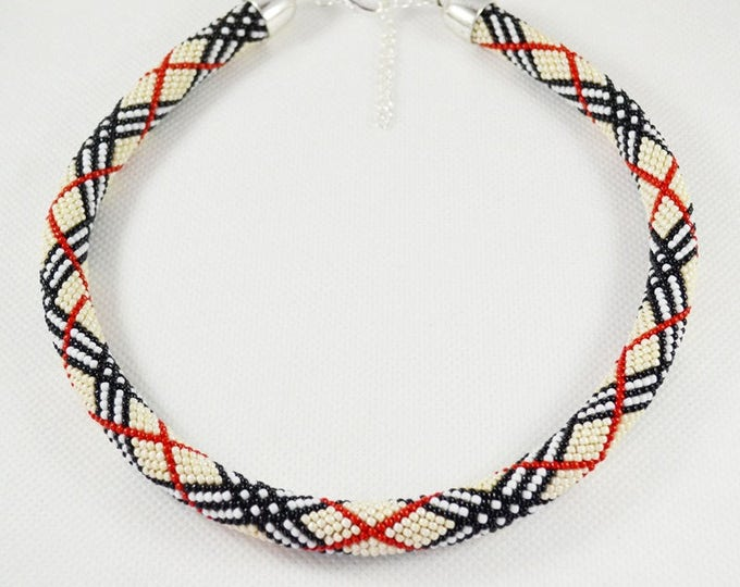 Plaid necklace, custom necklace, made ot order, special order, custom jewelry, Tartan necklace, seed bead necklace, gift for women