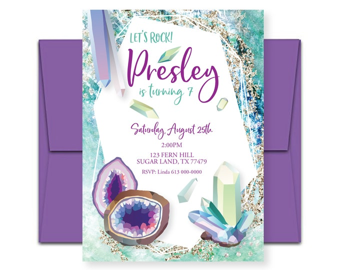 Geode Birthday Invitation - geology invitation - crystal party - rock theme party - Let's rock party invite - printable digital file