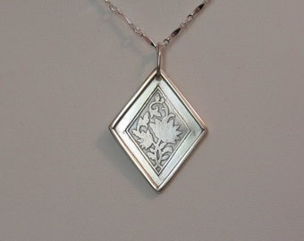 Sterling Silver Etched Flower Pendant, Handcrafted