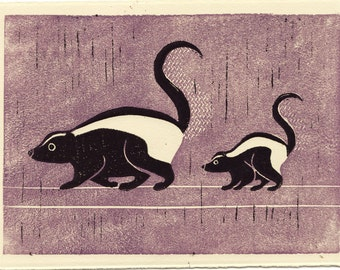 SKUNKS -  Original Hand-Carved Linocut Block Art Print, Woodland Creatures, Black And White, 5 x 7
