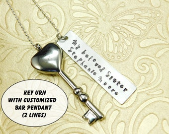 Customized up to 2 lines - Memorial Necklace - Key URN - Custom Bar Pendant - Heart shaped - Keepsake - Remembrance - Sympathy - Lost / Loss
