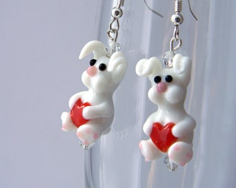 White Rabbit Earrings Lampwork Glass Earrings