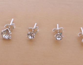 925 Sterling Silver 3 mm,  4 mm & 5 mm Small to Big Crystal Ball Round Stud Earrings Comes as a single pair or set.