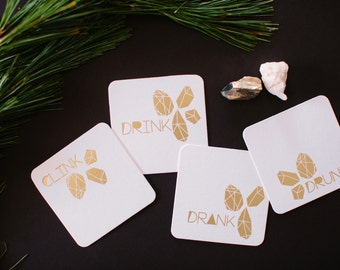 Clink, Drink, Drank, Drunk coasters, 2 Ply, Pulp Board, 4 inch, 20 CT.