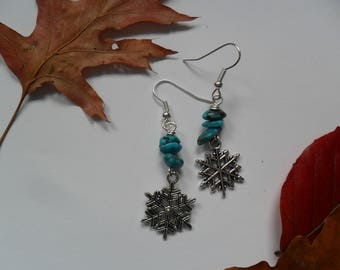 December Earrings of The Month - Birthday Earrings with Turquoise Gemstone Chip Beads and Snowflake Charms