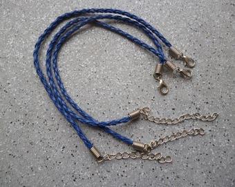 1 Lot de 3 jolis bracelets cordon en simili cuir bleu tressé , accessoires bijoux