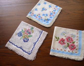 Three Vintage Printed Handkerchiefs with Crochet,  Handkerchiefs, Printed Hankie Lot, Floral Handkerchief, Blue Print Hankie, Crochet Hankie