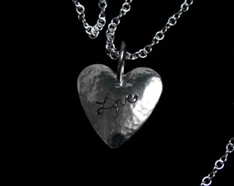 Handmade 'Amore ~ Love' pendant. Traditionally hand made and hand stamped Sterling Silver love heart pendant.