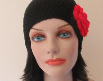Black Beanie with Attached Red Crocheted Flower, Women's Black Hat, Cold Weather Accessory, Black Winter Hat
