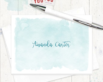 personalized stationery - WATERCOLOR WASH - set of 8 folded cards - stationery - stationary