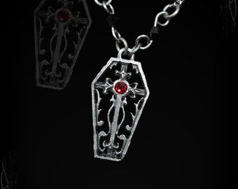 Gothic coffin necklace with gothic cross, orned with an Austrian Swarovski of your choice