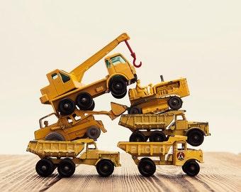 Vintage Matchbox Tractor Pile, Photo Print, Boys Room decor, Boys Nursery Prints, Boys Room Decor, Transportation art