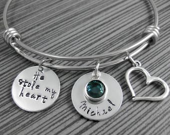 He Stole My Heart / Wire Bangle / Hand Stamped Mom Jewelry / Personalized Bangle Bracelet / Mother son Jewelry
