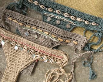 Crochet bikini bottom with tassels, Shells bikini bottom, Crochet bikini bottom, Brazilian bikini, Cheeky bikini bottom, Bohemian clothing