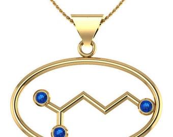 "Molecule gaba ""calm"" solid gold oval necklace set with genuine birthstones - Molecular Bliss"