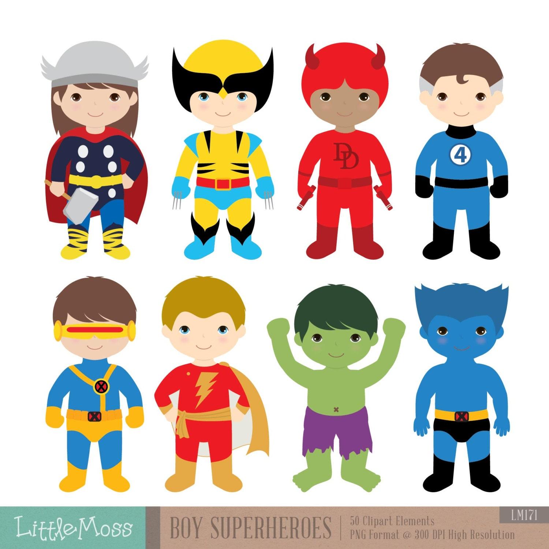 boys superhero costumes clipart 2 boy superheroes rh etsy com superhero clip art free superhero clip art free