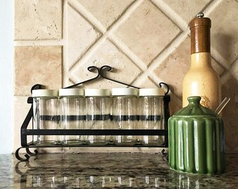 Black Spice Rack / Vintage Iron Rack / 5 Spice Jars / Small Spice Rack / Simple Bottles / Retro Kitchen