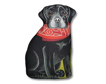 Black Labrador Retriever Three Sided Stuffed Animal Pillow