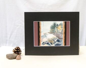 Lake Superior northwoods landscape, original watercolor painting, original art, nature watercolor, Wisconsin art