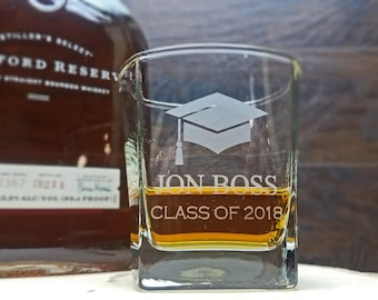 Square Whiskey Glasses Personalized, Personalized Graduation Gifts, Square Rocks Glasses, Whiskey Glasses Engraved, College Grad Gifts