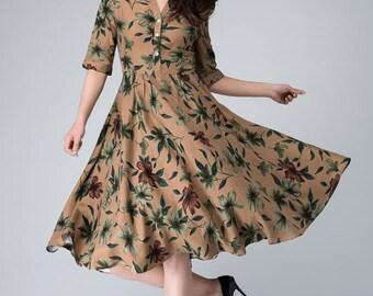 Garden party dress, print dress, summer dress, linen dress, floral dress, brown dress, shirt dress, elbow length sleeves, womens dress 1488