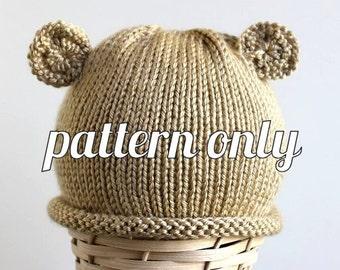 Knit Pattern: Roll Brim Teddy Bear Hat - Baby Photo Hat - Baby Photo Prop